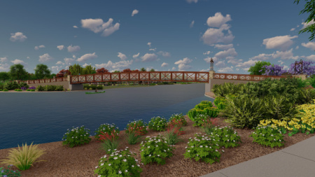 Pedestrian bridge at the new Barney Farms neighborhood in Queen Creek, AZ